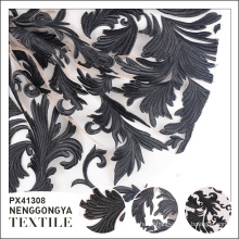China fábrica Designer luxo malha preto bordado tecido