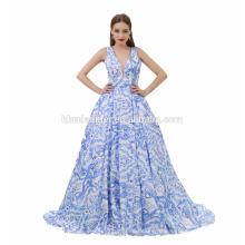 Новая Мода Синий Цветок Глубокий V Шеи Бальное Платье Вечернее Платье