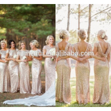 Gold Long Bridesmaid Dresses Sequined Short Sleeve Floor Length Cheap Bridesmaid Dress 2016 Prom Gown Wedding Party Dress