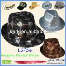 LSF36 Ningbo Lingshang Fashion Shining Sequins Cotton/Polyester fabric hat fedora