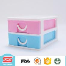 Plastic 2 layer desk cabinet organiser storage drawer box for office use