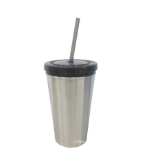 Acero inoxidable o taza plástica con paja