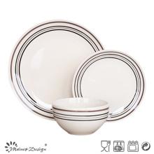 Juego de cena de cerámica de 18 piezas con círculos simples pintados a mano