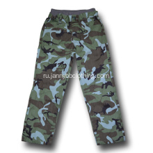 boys green camo rib waist pants