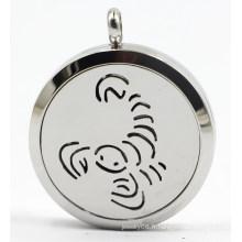 Scorpio 30mm Rd Silver Stainless Steel Perfume Diffuser Locket