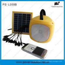 2W LED solaire lanterne d'urgence avec chargeur allume-cigares USB