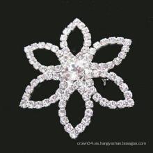 Broche de rhinestone simple de la flor de la forma al por mayor