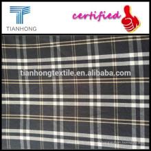 Preto xadrez yarn-dyed do tecido/camisa yarn-dyed do tecido de algodão/camisa xadrez tecido de sarja