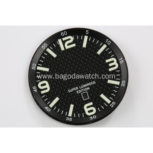 Black carbon fiber dail with super swiss lume