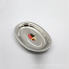 поднос диска еды большой нержавеющей стали 16inch серебряный овальный для ресторана