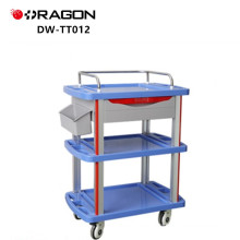 Engineering plastic table with soft glass inlaid trolley for medical equipment