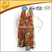 Womens Tree Print Soft Silk Material Wraps Stole Factory Wholesale Chiffon Shawl