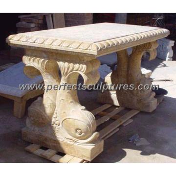 De piedra tallada mesa de mármol para la decoración de jardín antiguo (qtb022)