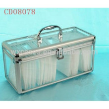 high quality 160 CD disks aluminum CD DVD storage case with clear acrylic panel as walls wholesale