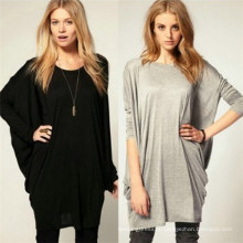 Women′s Summer Long Tops Loose Leisure Batwing T-Shirts