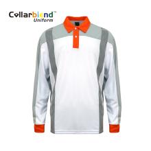 Белая быстросохнущая рубашка-поло с высокой видимостью на заказ