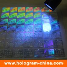 Etiqueta de holograma anti-falsificação fluorescente invisível