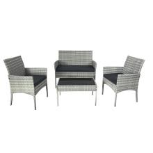 Outdoor Modern Patio Rattan Sofa Garden Furniture Simple Wicker Sofa Set 4 PCS with Table