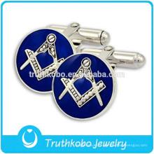 Boutons de manchette argentés en acier inoxydable L-C0015 Boutons de manchette maçonniques bleus vintage époxydes pour hommes