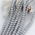 7mm Dyed Grey Color off Round Natural Freshwater Pearl Loose Beads Strand