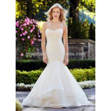 NA1019 Elegante Mermaid Sweetheart Plissado Organza Backless Vestido De Casamento Gratis 2015