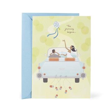 Hochzeits-Blumenstrauß werfen Mahagoni-Hochzeits-Karte, weiße Hochzeits-Einladungs-Karte