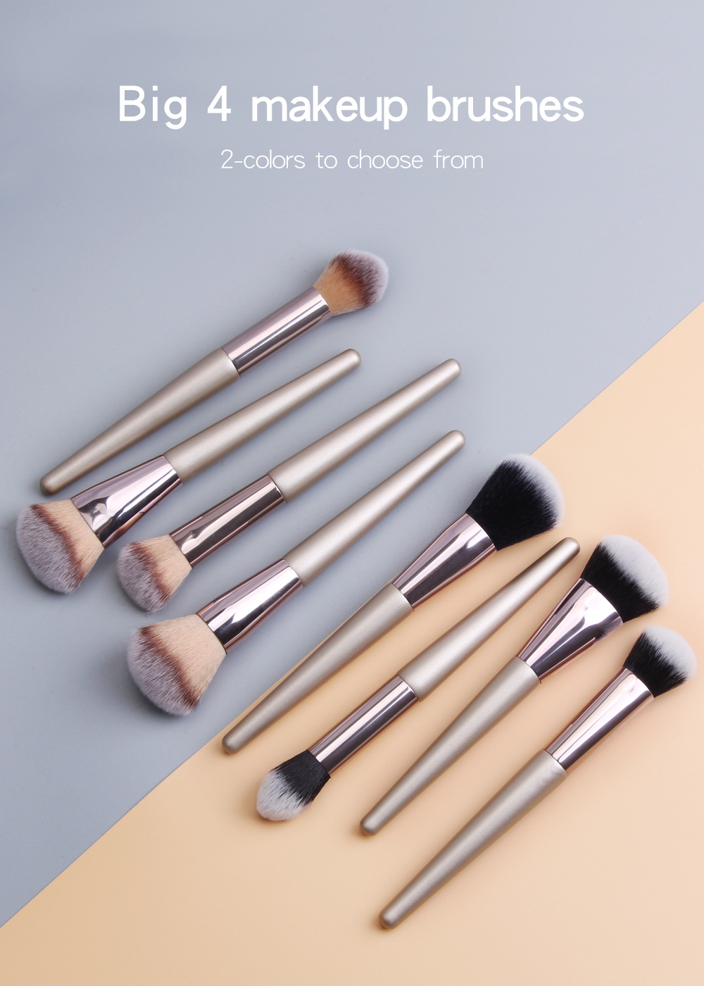 4 Piece Champagne Gold Makeup Brushes set 1