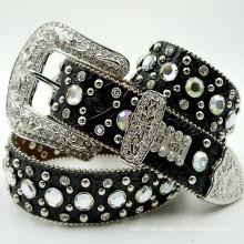 Cinturón de diamantes de imitación de cuero occidental de cuero