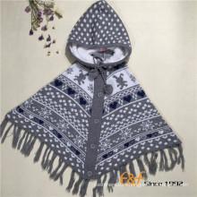 Cárdigan con capucha de punto personalizado Cálido manto de Navidad con borlas