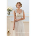 Cap Sleeve French Lace Simple But Elegant Chiffon Evening Dress