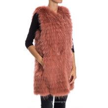 Rojo de frijol color de estilo largo de punto guache chaleco de piel para niña