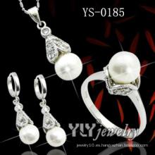 Joyería de plata de la perla de la manera 925 fijada (YS-0185)