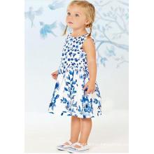 Vestido de bebé de flores de moda en Froks con impresión de transferencia