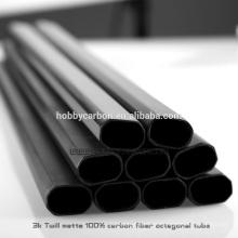 Sarja 3K / matte liso / tubo / tubulação octogonais lustrosos da fibra do carbono do revestimento para o zangão