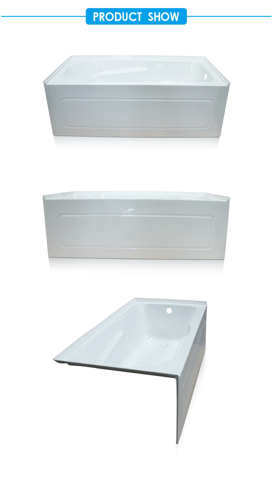 Ensemble Skirted Tub with Three tile flange