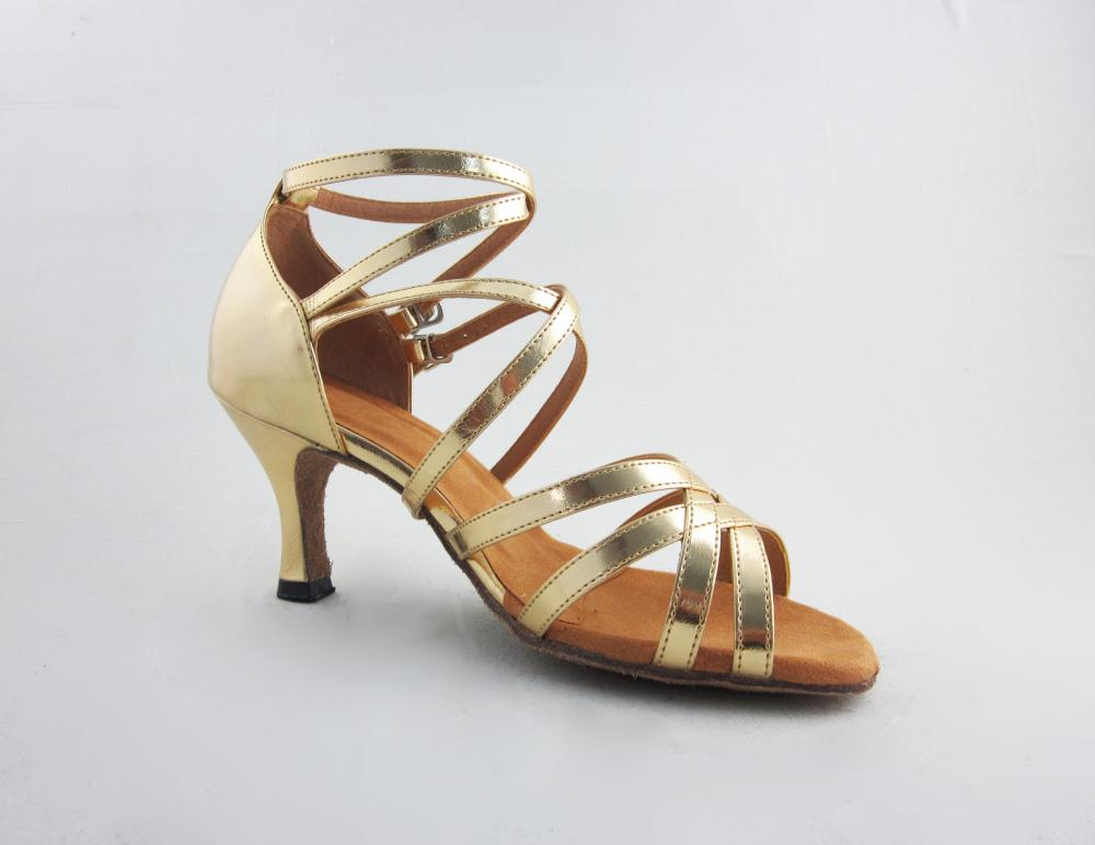 2 5 Inch Gold Pu Salsa Shoes
