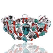 Latest Design Tibetan Turquoise And Multi Gemstone 925 Sterling Silver Bracelet