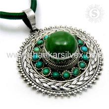Anticuario superlunary colgante 925 libras esterlinas turquesa piedras preciosas joyas de plata mayorista