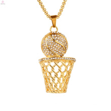 Iced Out Ball Rim Hiphop Basketball Pendant Necklace