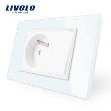 Prise de courant française à un bouton avec un bouton-poussoir Livolo Manufacture VL-C9C1FR1K-11/12