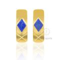18k золото Лазурит серьги, красивая форма серьги с бриллиантами для женщин