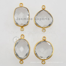 Vermeil cristal cuarzo bisel Connector piedras preciosas para joyas bisel