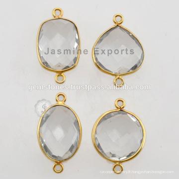 Vermeil Crystal Quartz Bezel Connector Gemstone pour Bezel Jewelry