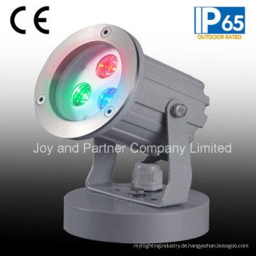 IP65 3W RGB im Freien LED Garten-Punkt-Licht mit Unterseite (JP83033)