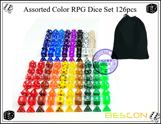 Assorted Color RPG Dice Set 126pcs-4