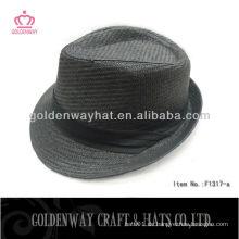 Billiges Papier Stroh schwarz Fedora Hut mit Faltband