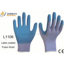 10g de alto grado de poliéster de Shell de látex espuma de caucho recubierto guante de trabajo (L1106)