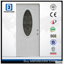 Decorative Tempered Glass Inserted Utility Interior Glass Steel Door