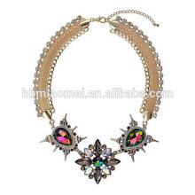 2018 elegant colorful beads acrylic statement tassel bohemian necklace