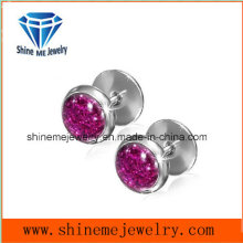 Stainless Steel Simple Stud Purple Zircon Earring